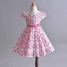 Árbol De Verano Vestido de algodón rosa niñas 4 5 6 7 8 años
