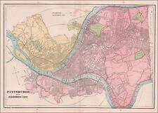 PITTSBURGH, PENNSYLVANIA, larger city map, original 1891