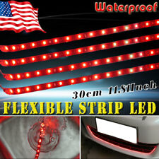 "4X Red 12""/15 LED Flexible Strip Light Bar for Car Pickup Truck Motor Waterpfoof"