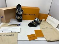 Louis Vuitton Bom Dia Flat Mules 38 black & White Cat in Box w/ Receipt Dust Bag
