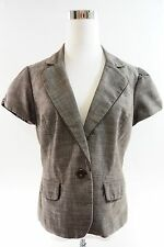 Women's AGB Short Sleeve Two Faux Pocket Single Button Jacket Size 12 Brown