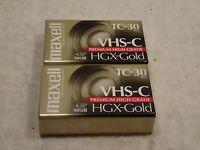 2 MAXELL TC-30 VHS-C HGX-Gold Premium High Grade - Sealed