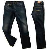 Nudie Herren Slim Fit Organic Denim Jeans Hose - Thin Finn Dark Saltwater Blue