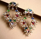 1721 / SUPERBES BOUCLES D'OREILLE CLIPS EMAILLEES