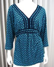 Liz & Co. Woman Long Sleeve V Neckline Blouse Plus Size 1X Green Black 071