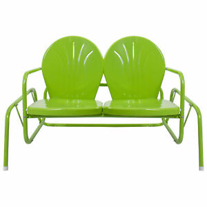 2-Person Outdoor Retro Metal Tulip Double Glider Patio Chair, Lime Green