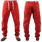 New Mens Enzo 195 Designer Curved Leg Cuffed Jeans Tapered Comfy Red Size 32R
