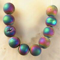 10Pcs/Set 8mm Titanium Crystal Agate Druzy Quartz Geode Round Ball Pendant Bead