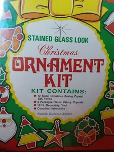 Vintage New Sealed Deadstock Eze Form Christmas Ornament Kit Stained Glass Look