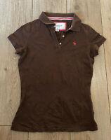 Abercrombie & Fitch Women's Polo T Shirt Brown Medium Cotton Blend