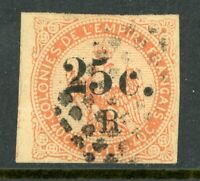 French Colony 1885 Reunion 25¢ Imperf Overprint  SG # 4 VFU R871