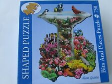 Bits & Pieces Shaped Jigsaw Puzzle BIRDBATH GARDEN 750 Pieces New Sealed