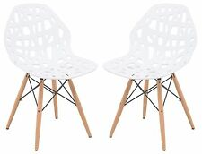 Akron Plastic Design Side Chair Wood Dowel Legs in White, Set of 2