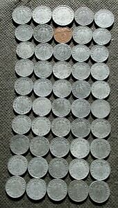 BIG LOT OF 50 OLD COINS OF THIRD REICH GERMANY SWASTIKA WORLD WAR II - MIX 777