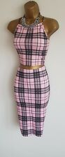 Missguided pink black check co-ord set 2 piece bodycon midi skirt crop top 10