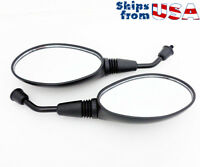 Rearview Mirror Set - 8mm REVERSE Thread - Flat Black - Motorcycle Scooter Moped