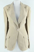 Emanuel Ungaro Sz 42 Tan Ivory Top Stitch Linen Silk Jacket G065