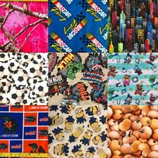 "100% Cotton Quilt Fabric CHOICE DIY Mask Disney Marvel 18""x21"" Fat Quarter Sport"
