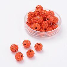 12 trozo de pedrería perlas beads perlas Shamballa Orange 8 mm (1559)
