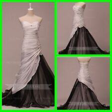 Black and White Alternative Wedding Dress Gothic Wedding Gown W787