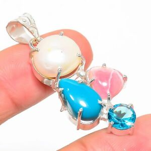 "Rhodochrosite, Blue Topaz Gemstone 925 Sterling Silver Jewelry Pendant 1.85"""