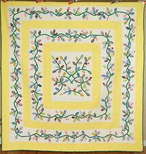 Lg. MAGNIFICENT Vintage 40's Tea Leaves Leafy Vine Applique Antique Quilt ~MINT!