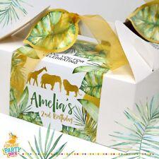 Large Gold Jungle Safari Leaf Palm Picnic Kraft Birthday Wedding Party Box Bag
