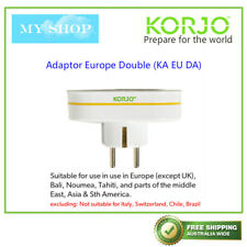 KORJO Double Travel Plug Adaptor from AU/NZ to Europe(except UK), Bali