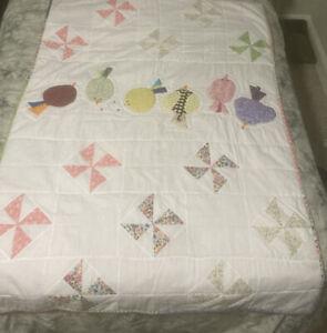 "Cute Handmade Birds & Beads Pinwheel 59.5"" X 43"" Light Toddler Baby Or Lap Quilt"