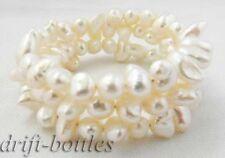 baroque freshwater pearl Bracelet 3row 8'' 7mm white