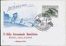 SAN MARINO: Busta speciale RALLEY MOTOCICLISTICO RIMINI 1955