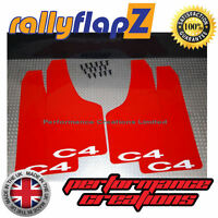 Rally Style Mud flaps to fit CITROEN C4 Coupe Mudflaps Red C4 White 3mm PVC