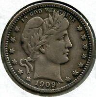 1909 Barber Silver Quarter - Philadelphia Mint - BP251