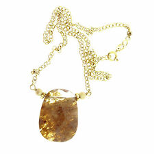 Vintage Cloudy Brown Quartz Pendant Sterling Silver Necklace Chain Gold Overlay