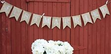 """Just Married"" Burlap Banner Rustic Wedding Barn Country - 6ft White font"