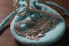8d5af5df9 TIFFANY & Co Large Key Pendant 925 Sterling Silver Long Beaded Ball Chain  34