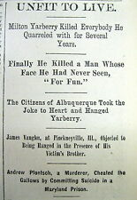 2 1882 Chicago newspapers BILLY THE KID GANG member MILTON YARBERRY is HANGED
