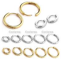 Pairs Gold Stainless Steel Ear Helix Hoop Huggie Stud Sleeper Earrings Piercing