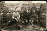 WW1 1914-18 BELGIAN ARMY VOLUNTEERS RIFLES FIXED BAYONETS RPPC PHOTO POSTCARD