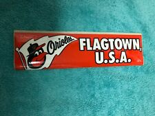 "1970 BALTIMORE ORIOLES BUMPER STICKER ""FLAG TOWN USA"""