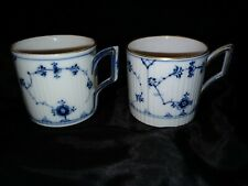 2 Rare early Royal Copenhagen Blue Fluted Cups straight side cans tea coffee