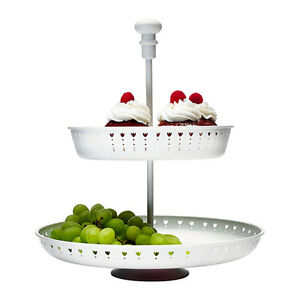 IKEA 2-Tier High Tea Cake Fruit Cheese Cupcake Serving Stand Tray Platter White