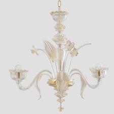 Lampadario in vetro di Murano Torce' 3 luci cristallo oro