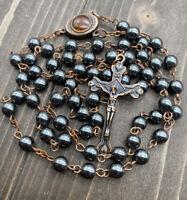 Hematite Rosary Black Stone Beads Antique Necklace Jerusalem Holy Soil & Cross