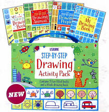 Usborne Step-by-Step Drawing Activity Pack by Fiona Watt (Box Set, 4 Paperbacks)