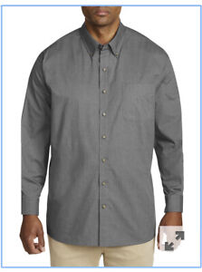 Basic Editions Men's Big & Tall Button-Front Dress Shirt -Grey 3XLT- 5XLT