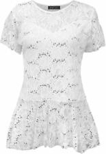 Womens Top Lace Flared Sleeve Tunic Size Frill Short Peplum Plus Pattern Floral White UK 18