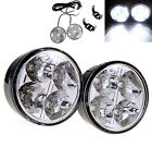 2X Bright 4 LED Round Car DRL Driving Daytime Running Light Fog Day Lamp White
