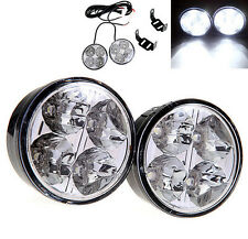 2X Bright 4 LED Round Car DRL Driving Daytime Running Light Fog Day Lamp White