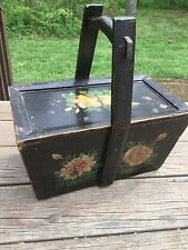VINTAGE WOODEN SEWING/ PICNIC BOX --HAND TOLE PAINTED antique basket